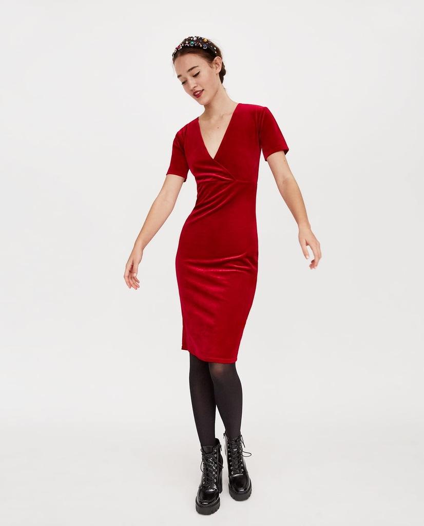 ZARA śliczna czerwona aksamitna sukienka M