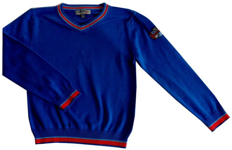 WIOSNA fajny REBEL sweter BLUE chł 6-7L/122