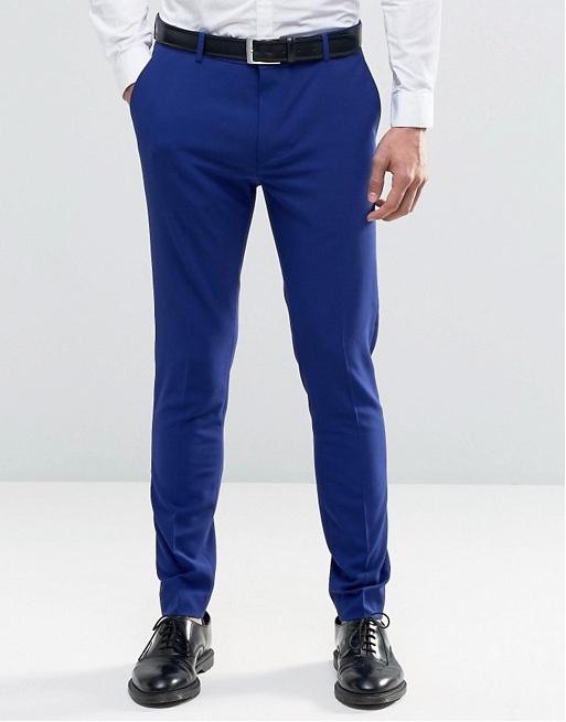 spodnie slim eleganckie garnitur niebieskie 36/32