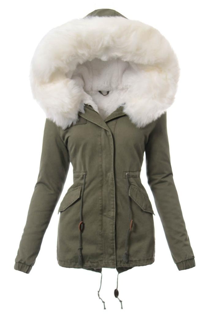 1405 damska parka kurtka zimowa 2w1 zielona s alegro
