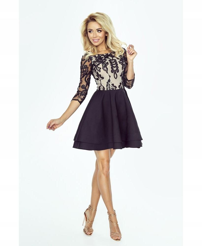 Wieczorowa sukienka z koronką Alisia czarna XL