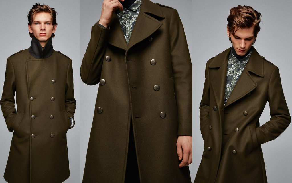 ZARA męski płaszcz militarny khaki elegancki L