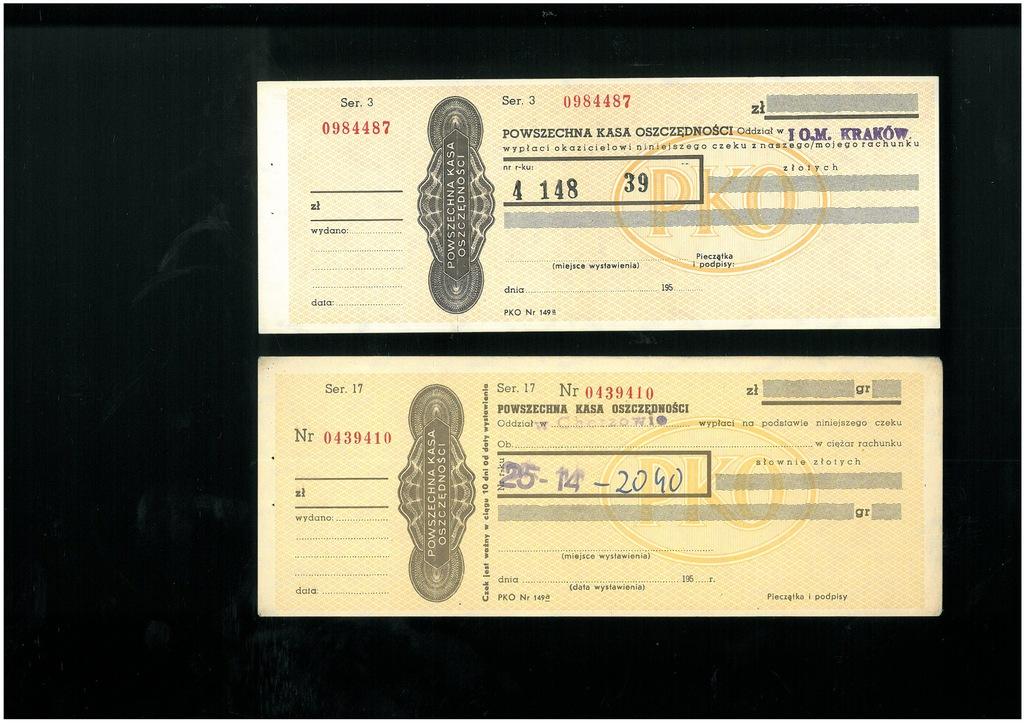 Czeki PKO - 2 szt. z lat 50-tych i 60-tych