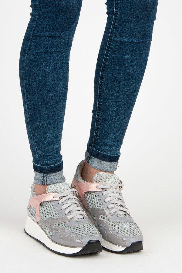 38 BUTY SPORTOWE DAMSKIE pionerki sneakersy szare