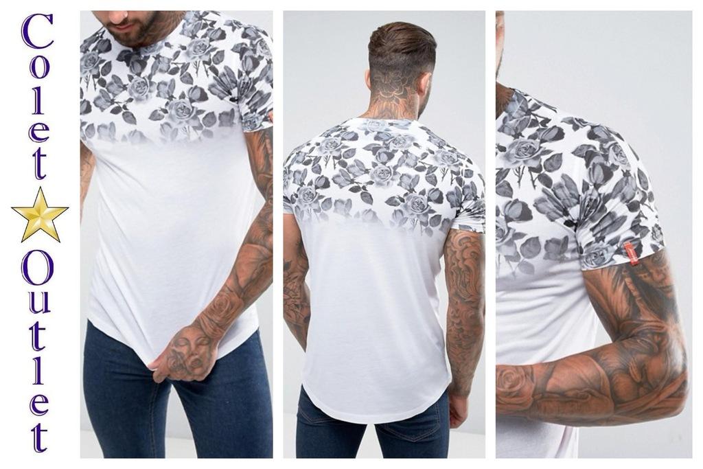 mr66 T-shirt męski biały szary nadruk róże M