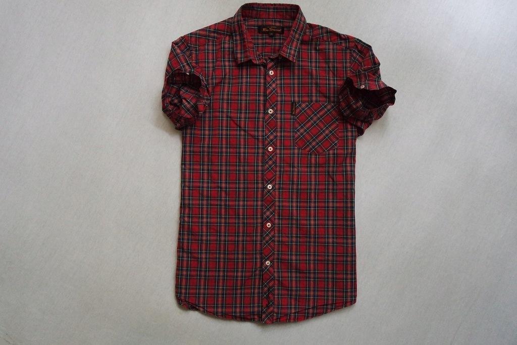 BEN SHERMAN koszula czerwona kratka logowana_____S