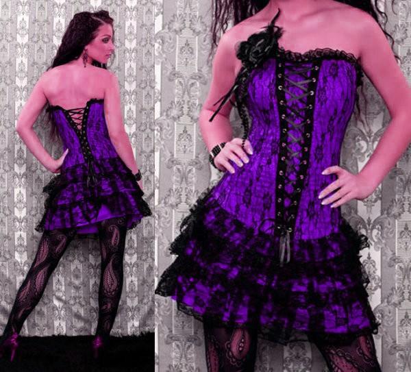 FIOLETOWY GORSET sukienka FLAMENCO XL  -40%