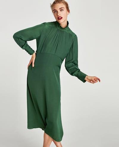 ZARA zielona sukienka midi butelkowa L 40