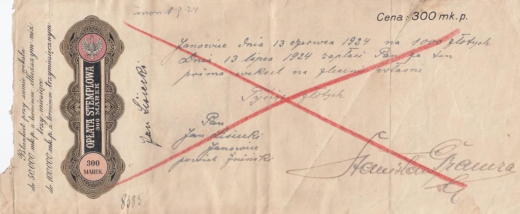 Janowice 1924 Weksel blankiet w MKP ale ZŁ revenue