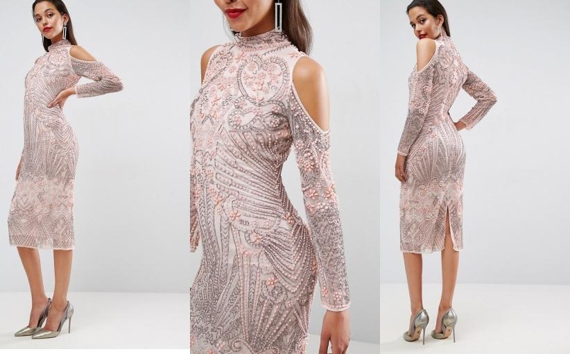 L5b103 Zdobiona Sukienka Midi Na Sylwestra 42 A03 7102284303 Oficjalne Archiwum Allegro