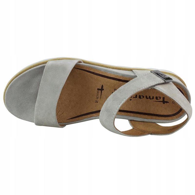 tamaris sandały szare na koturnie 28331