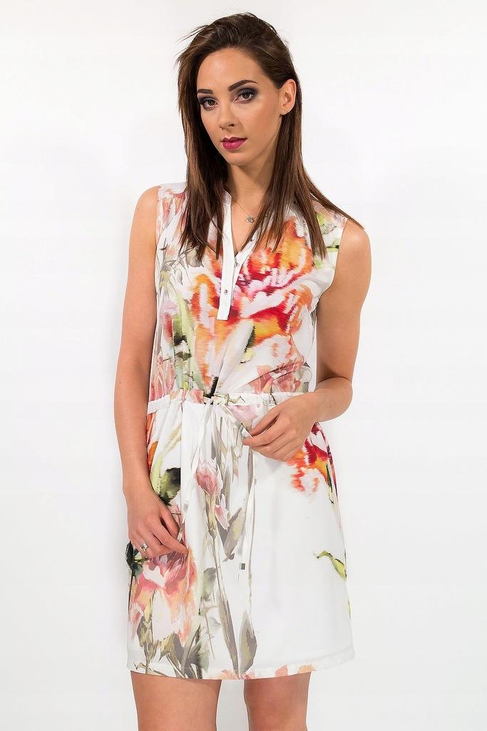 % Biała sukienka w kolorowe kwiaty Lato 38 wesele