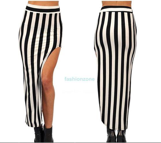 Długa spódnica maxi, paski czarno białe Galeria zdjęć i