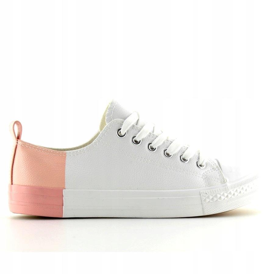 Trampki dwukolorowe białe white bare pink r.39