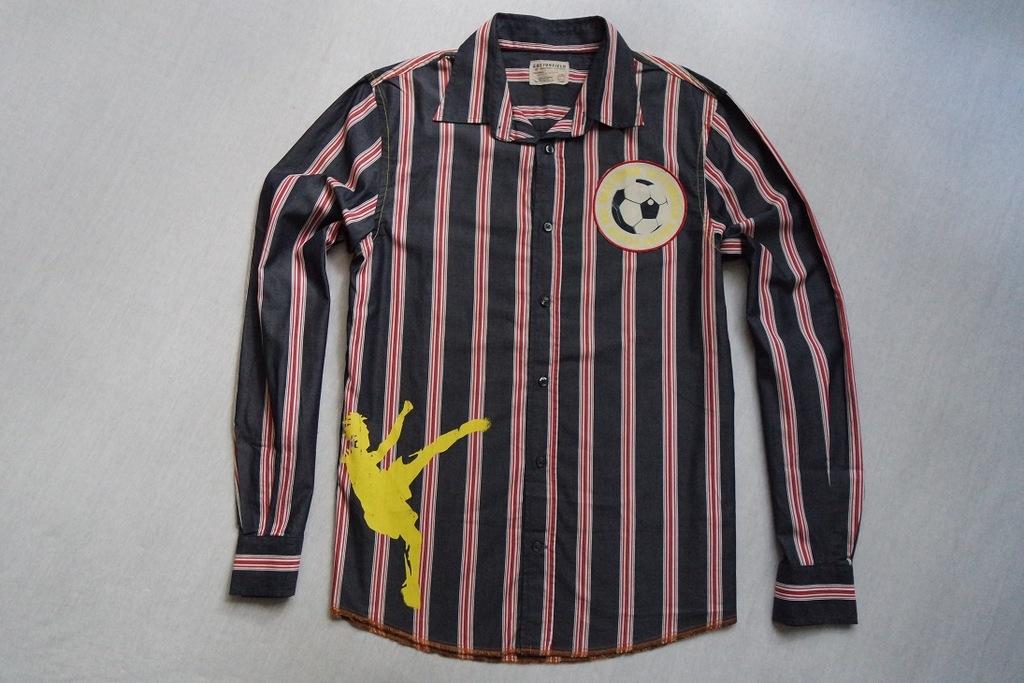 COTTONFIELD koszula paski nadruk granat logowana_L