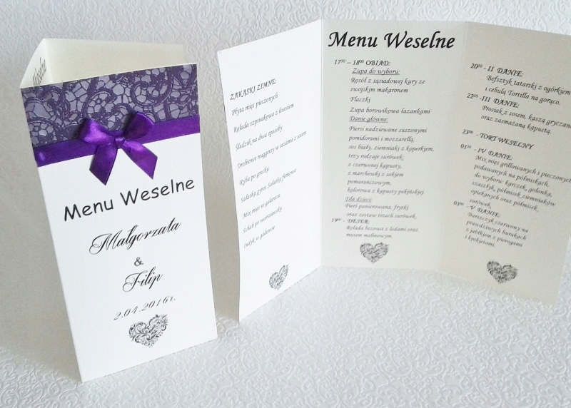 MENU WESELNE karta dań MENU na stół Ślub 1 sztuka