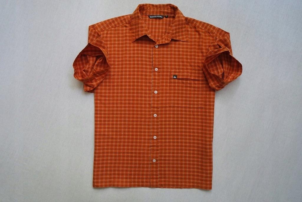 QUIKSILVER koszula pomarańcz kratka logowana___M/L