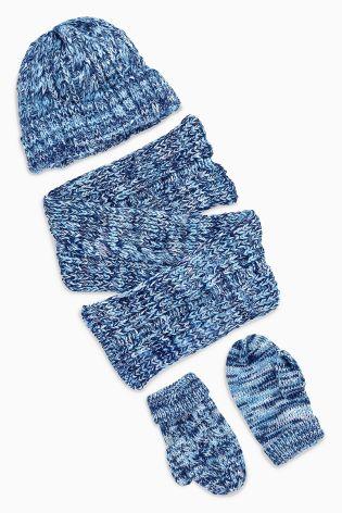 NEXT komplet 3cz czapka szal rękawiczki 5-6ll