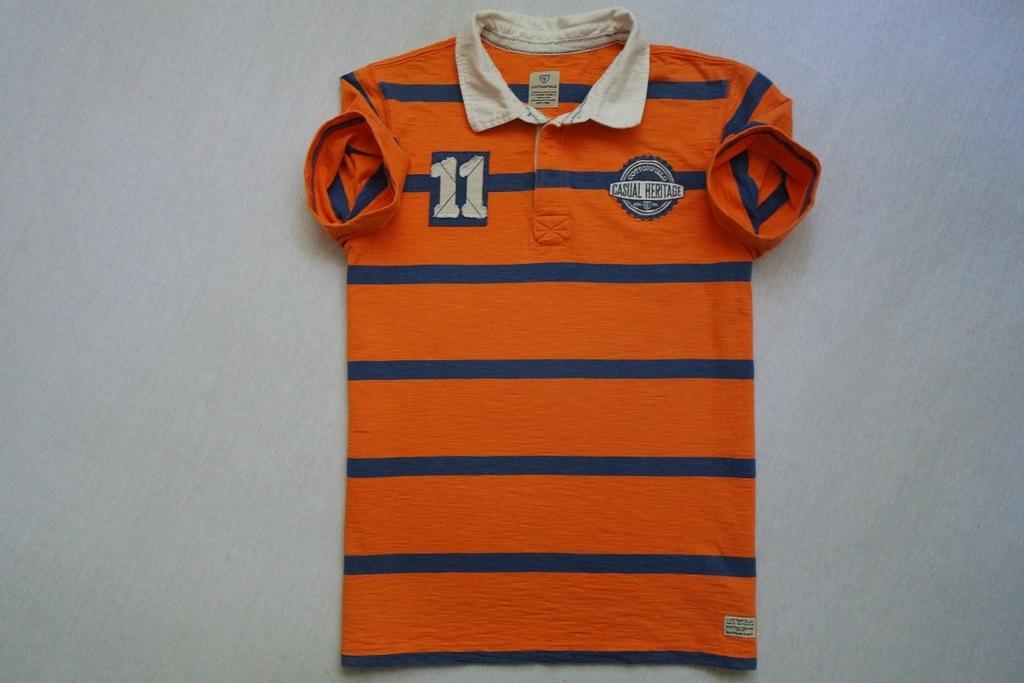 COTTONFIELD koszulka polo pomarańczowa logo___L/XL