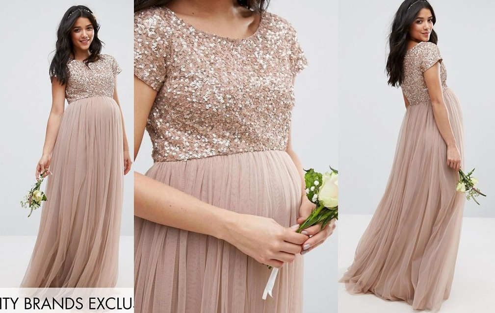 Sukienka ASOS MAYA MAXI TIULOWA CIĄŻOWA NUDE 36 S