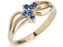 ZŁOTY 585 pierścionek MOTYL z SZAFIR. zaręczynowy
