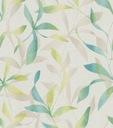 Tapeta zieleń beż szary liść roślinny flizelina 3D