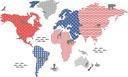 Kolorowa pastelowa mapa świata ze zwierzętami 100