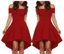 Sukienka rozkloszowana czerwona piękna 61346 36-44