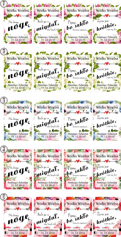 Etykiety Naklejki Wódkę Kwiaty Smieszne 32 Szt