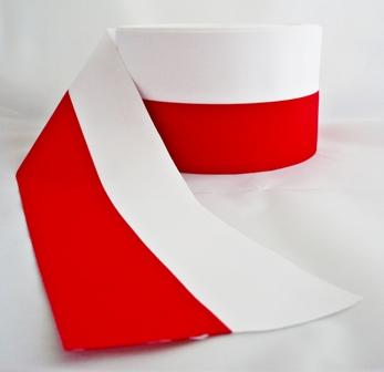 Aktualne TAŚMA WSTĄŻKA RYPSOWA BIAŁO-CZERWONA FLAGA 15cm 6582007104 LR75