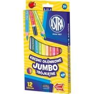 Kredki ołówkowe trójkątne Jumbo Astra 12 kolorów