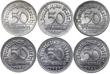 Германия - 50 Pfennig 1920 - КОМПЛЕКТ MENNIC - ADEFGJ доставка товаров из Польши и Allegro на русском