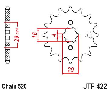 ZĘBATKA ПЕРЕДНЯЯ JT 13Z 520 CAGIVA WMX; YZ 125/250