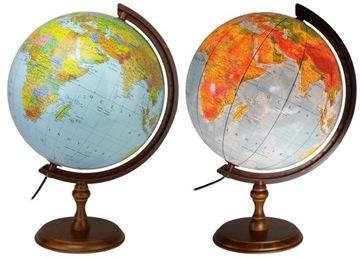 Globus 320 mm OSVETLENÝ 2v1 TMAVÉ DREVENÉ DREVO