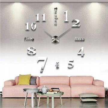 Veľké 3d strieborné nástenné hodiny