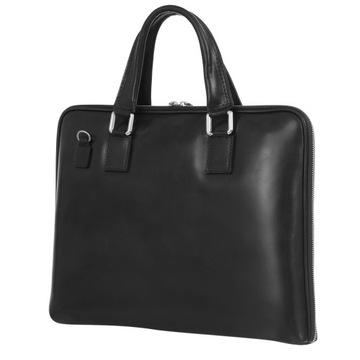 C198 Włoska torebka skórzana czarna