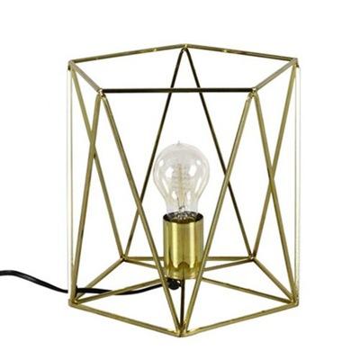 Lampa, luster, svietidlo -  LAMPA STOŁOWA ZŁOTA h25cm AŻUROWA KOSZYK Z DRUTU