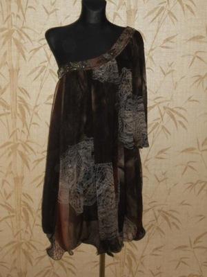 River Island asymetryczna sukienka w brązach-36/38