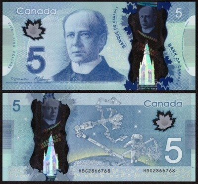 ~ Канада 5 Долларов 2013 ПОЛИМЕР UNC Карни ?????????? !