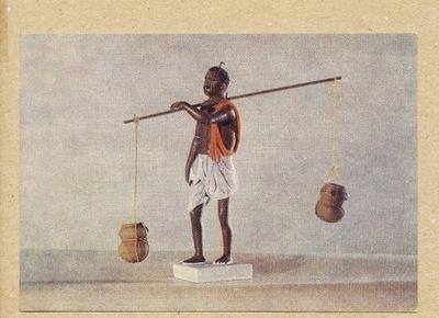 ОТКРЫТКА РУССКАЯ -  ИНДИИ скульптура 1956 Г.