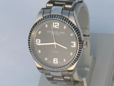 Piękny męski zegarek Stuhrling Original Diamonds.