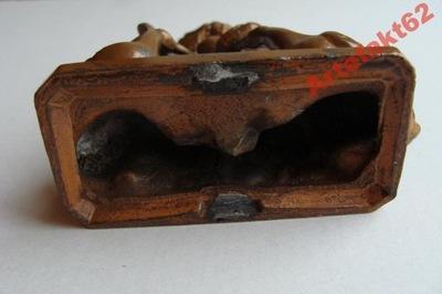 GĘŚLARKA przedwojenna FIGURKA cyna brązowiona