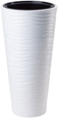 горшок SAHARA 3D ВЫСОКАЯ С ВКЛАДОМ H68 FI35 белая