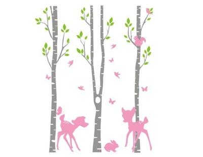 Steny otlačkom, brezy, stromov, lesov, zvierat, jeleň