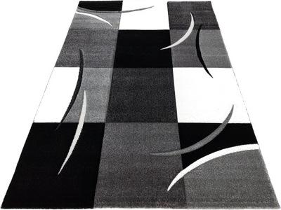 3D DIAMOND koberec 120x170 čierno-biele štvorce