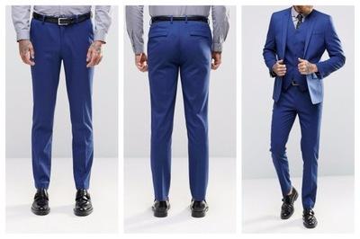 $mo19 spodnie eleganckie niebieskie skinny W26 L30