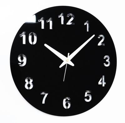 Cichy zegar ścienny Glamour połysk CZARNY 30 cm O3