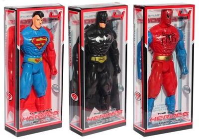 FIGURKA BATMAN + SPIDERMAN SUPERMAN ŚWIATŁO 22 CM