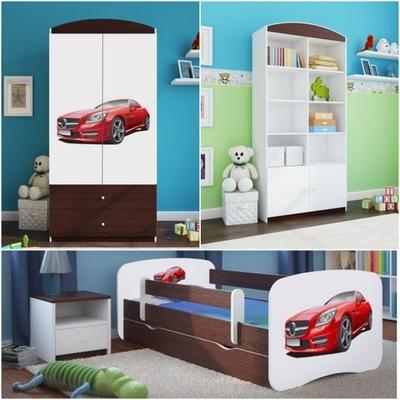 Sada 3 el nábytok, skrine, poličky na knihy posteľ 160x80cm wenge