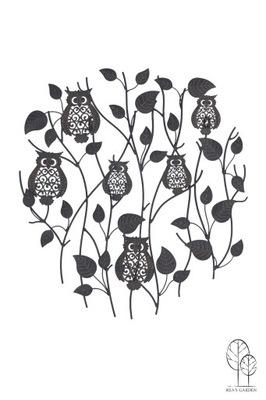 Dekorácia do záhrady - OWLS ORNAMENT METAL na stenu a zanecháva GARDEN